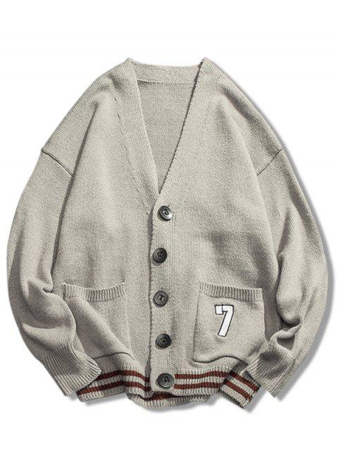 new Stripe Bottom Number Loose Cardigan - LIGHT GRAY XL Mobile