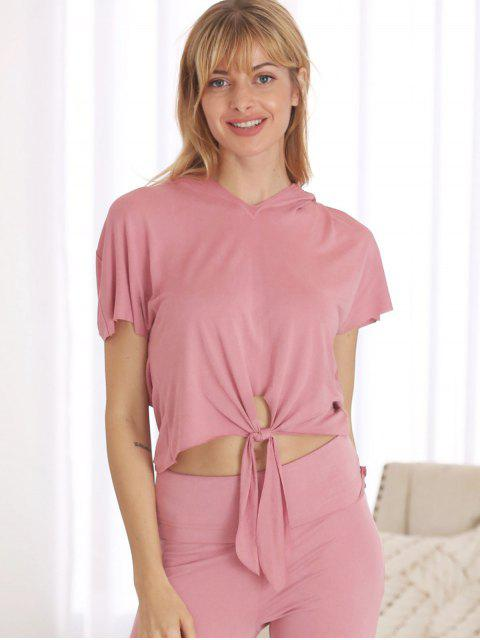 Batwing Front Knot Sports camiseta con capucha - Rosa L Mobile