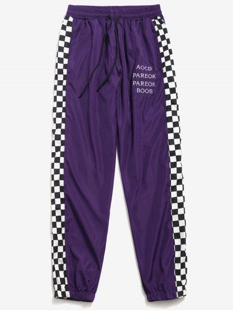 Pantalones Jogger de carta estampados a los lados - Púrpura 2XL Mobile