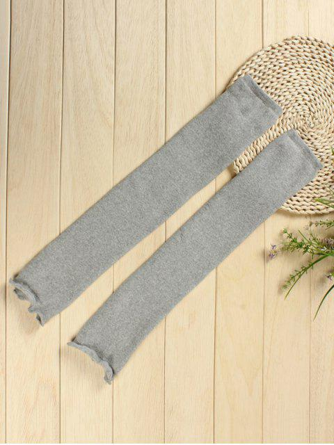 ladies Solid Color Knitted Leg Warmers - GRAY CLOUD  Mobile