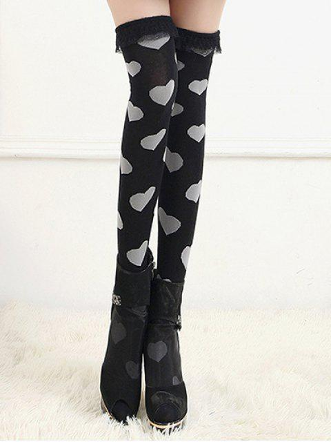 outfits Cute Heart Lace Thigh High Socks - BLACK  Mobile