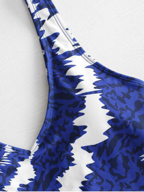 women's ZAFUL Printed High Cut Swimsuit - COBALT BLUE S Mobile