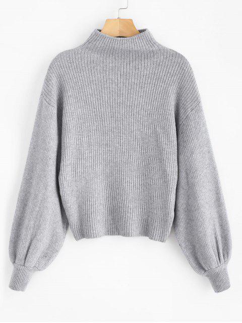 Lantern Sleeve Mock Neck Einfacher Pullover - Graue Wolke Eine Größe Mobile