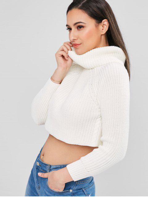 ZAFUL Camisola da Gola Alta de Malha Robusta - Branco L Mobile