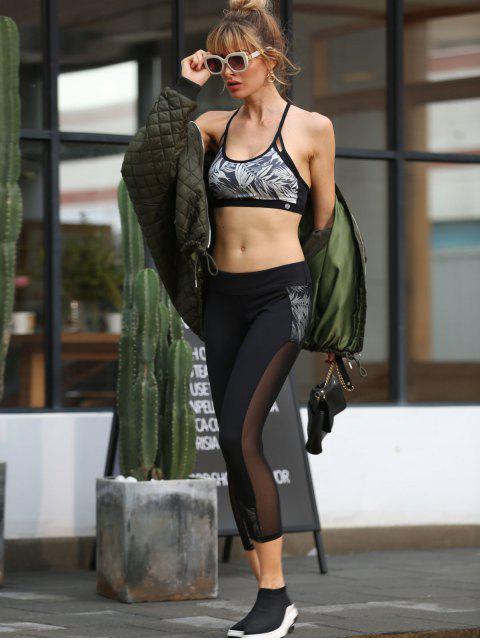 outfit ZAFUL Bamboo Print Mesh Insert Capri Leggings - BLACK M Mobile
