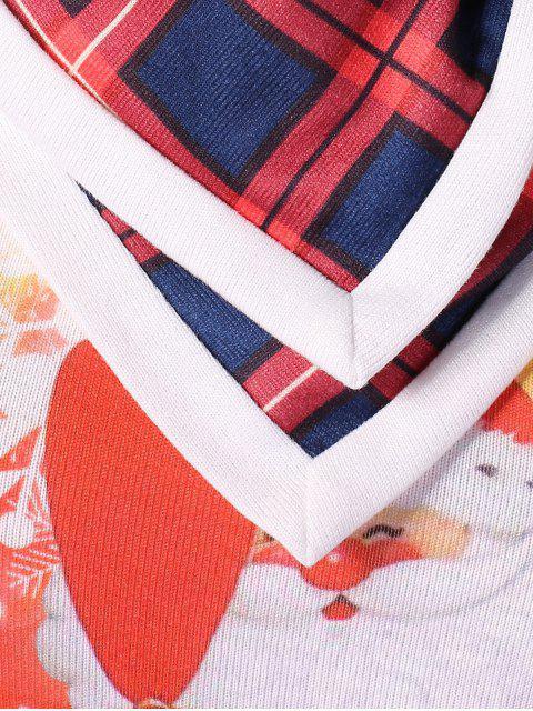 Natal Plus Size Vestido De Impressão De Papai Noel - Branco 4X Mobile