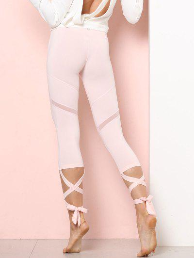 4edb9c3cc7f478 Sports Mesh Panel Cross Tied Crop Leggings - Pink Bubblegum M ...