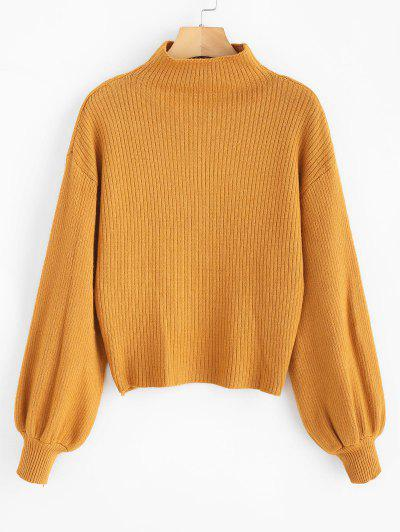2309caecbe0 Lantern Sleeve Mock Neck Plain Sweater - Orange Gold ...