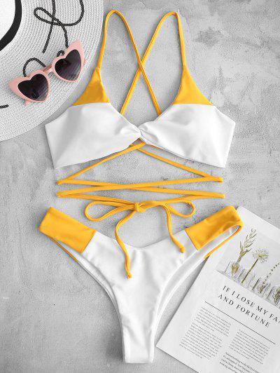 ZAFUL Lace-up Twist Two Tone Bikini Set - Bright Yellow M