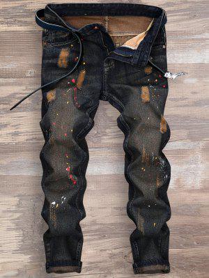 Gerissen Splatterfarbe Neun Minuten Jeans Malen