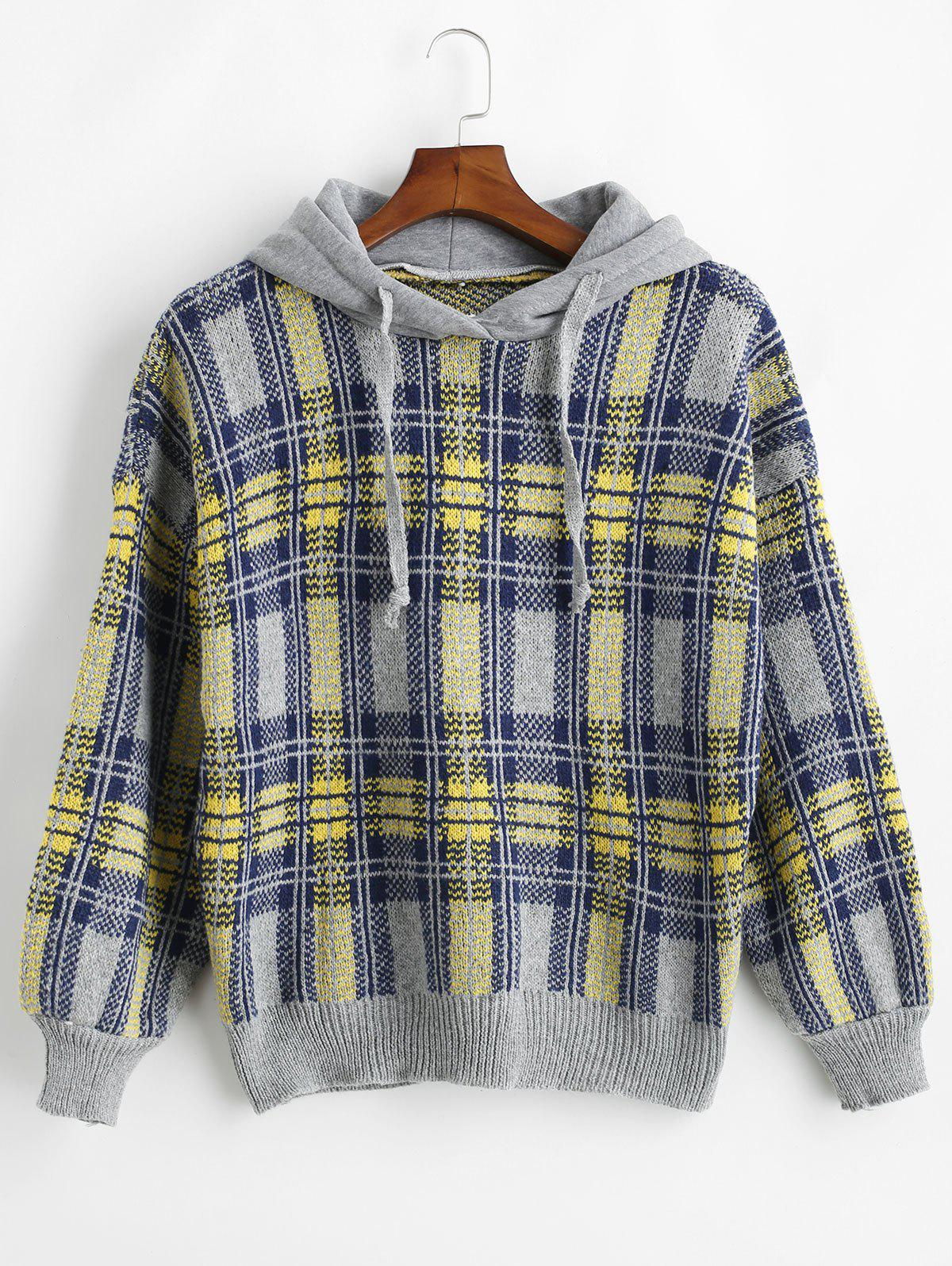 Jacquard Checked Hooded Sweater