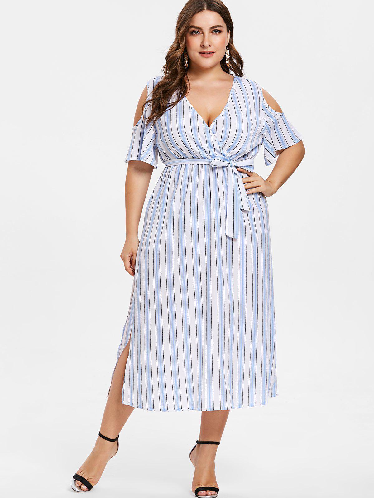 Plus Size Striped Surplice Open Shoulder Dress 284123802