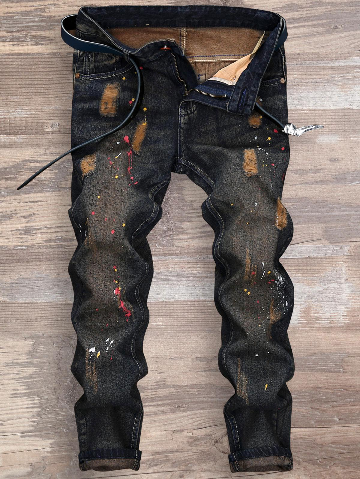 Ripped Splatter Paint Nine Minutes of Jeans 210945703