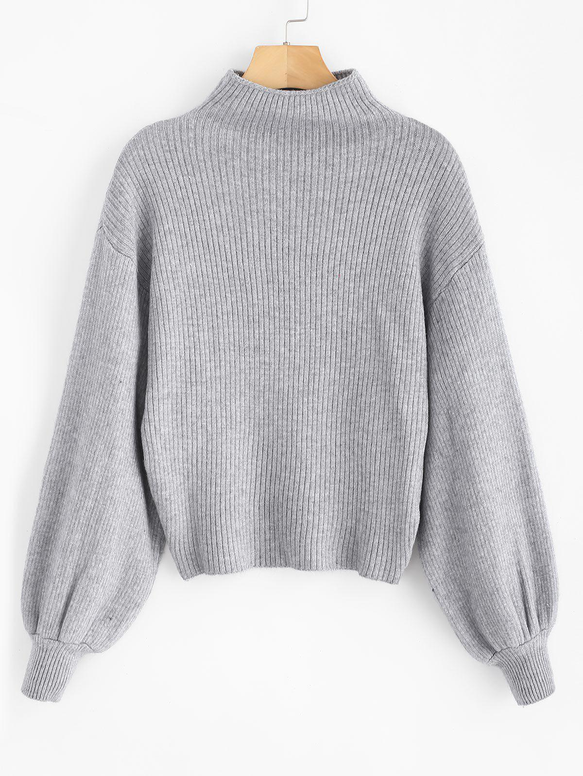 Solid Lantern Sleeve Mock Neck Plain Sweater