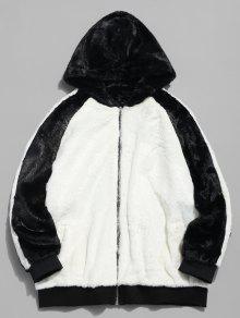 معطف فرو مقنع من فرو اللون - أبيض 2xl