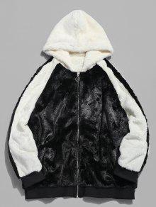 معطف فرو مقنع من فرو اللون - أسود Xl
