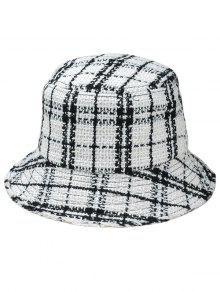 منقوشة واسعة بريم قبعة صياد - أبيض