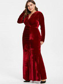 1598947133 28% OFF  2019 Plus Size Plunge Velvet Slit Dress In RED WINE