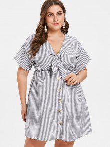 بالاضافة الى حجم شريطية مرتبطة فستان الكتف قطرة - اللون الرمادي 1x