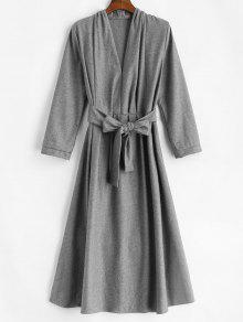 ربط الحزام كم طويل فستان ميدي - اللون الرمادي L