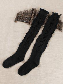 c5fa1e19c 16% OFF  2019 Solid Color Fold High Knees Socks In BLACK