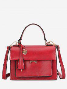 الحد الأدنى قلب شكل حقيبة يد صلبة - أحمر