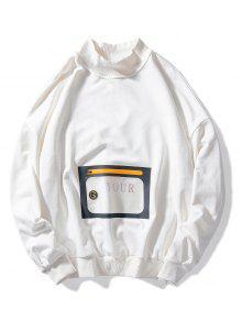 جيب مضادة للماء فضفاضة عارضة البلوز - أبيض L