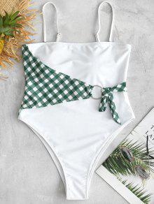 ZAFUL فحص حلقة عالية قطع ملابس السباحة - أبيض M