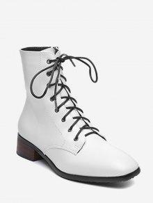 جلد منخفض كعب مكتنزة أحذية الكاحل - أبيض الاتحاد الأوروبي 39
