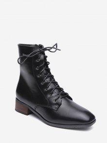 جلد منخفض كعب مكتنزة أحذية الكاحل - أسود الاتحاد الأوروبي 39