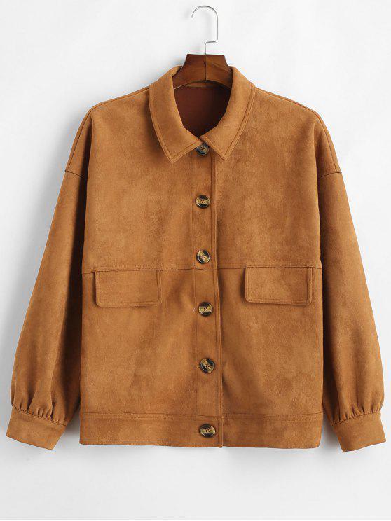 women's ZAFUL Single Breasted Faux Suede Jacket - BROWN XL