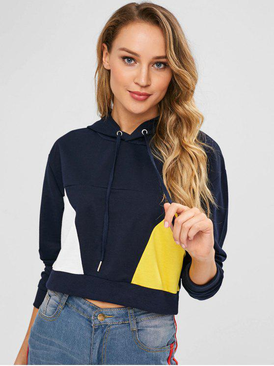 outfit ZAFUL Cropped Color Block Drawstring Hoodie - DARK SLATE BLUE S