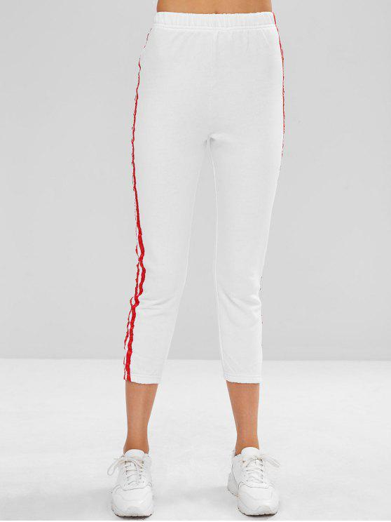 fancy Side Stripe Sporty Ninth Leggings - WHITE M