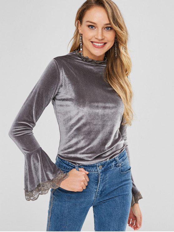 fashion Lace Trim Bell Cuffs Velvet Tee - GRAY GOOSE M