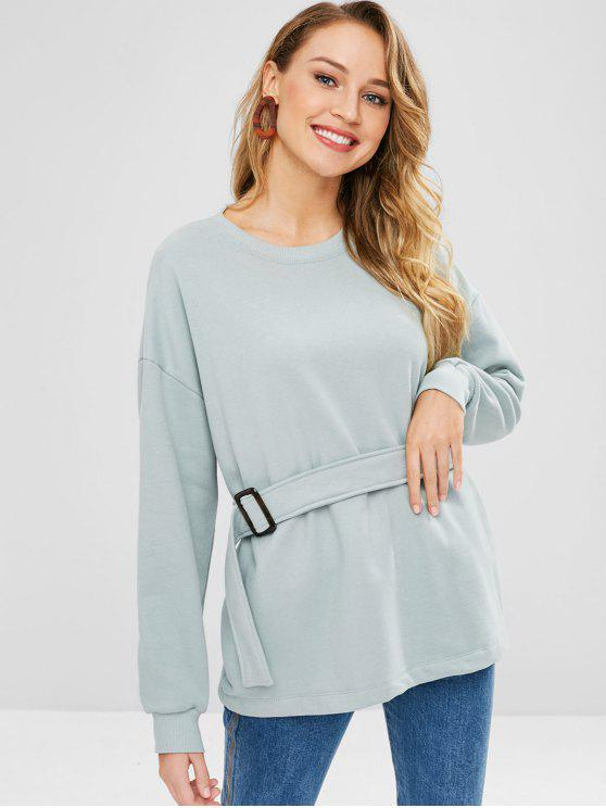 9111b67460fec 24% OFF  2019 Oversized Belted Skirted Sweatshirt In CYAN OPAQUE