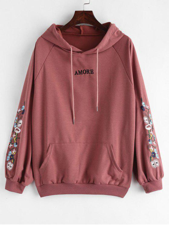hot Floral Letter Patched Front Pocket Hoodie - PALE VIOLET RED XL