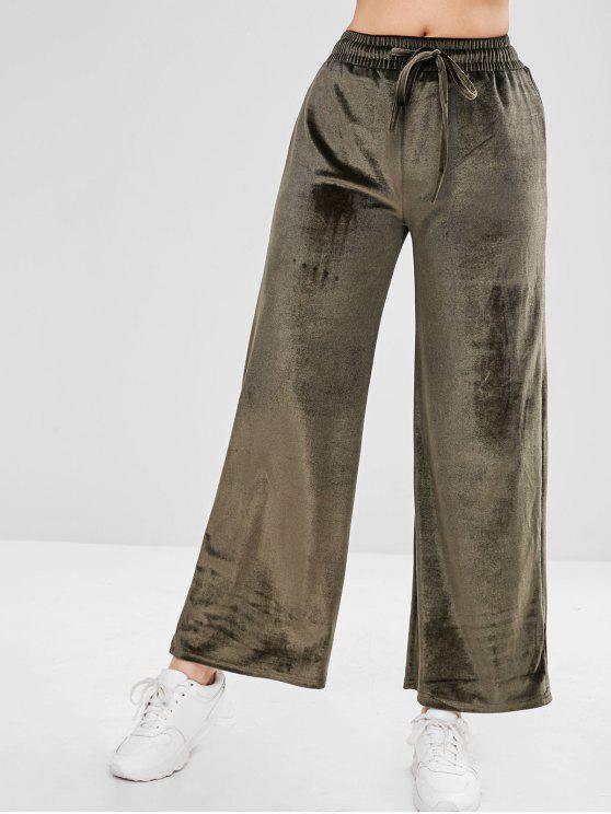 chic Drawstring Velvet Wide Leg Pants - CAMOUFLAGE GREEN M