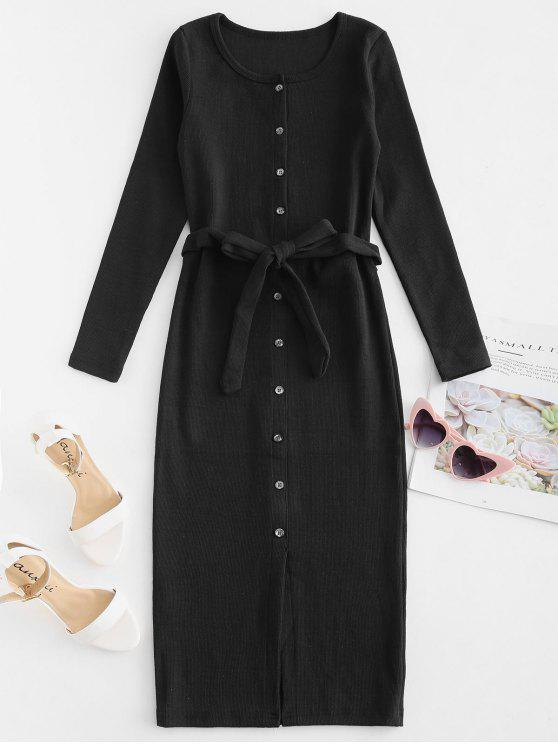 fancy Button Up Belted Fitted Dress - BLACK L