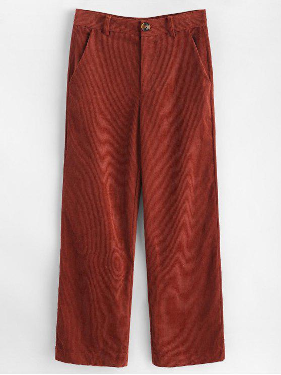 buy Wide Leg Corduroy Pants - CHESTNUT RED L