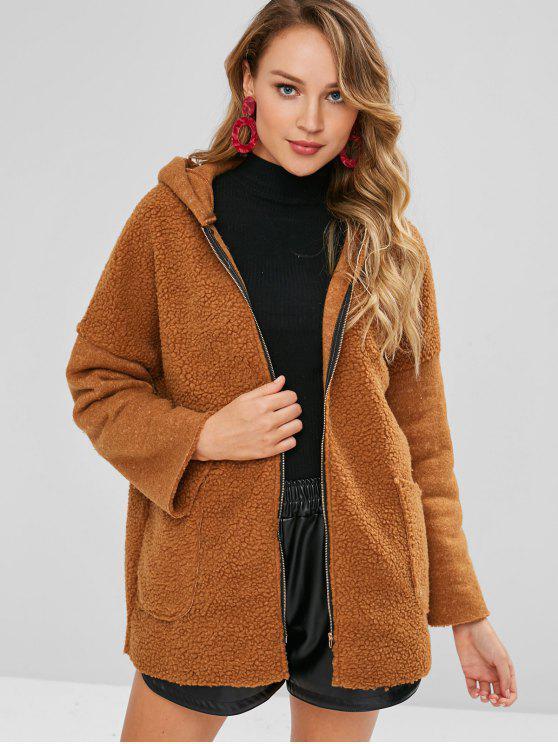 online Zip Front Faux Fur Hooded Coat - LIGHT BROWN S
