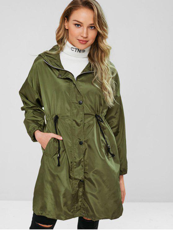 chic Waist Drawstring Hooded Windbreaker Coat - FERN GREEN ONE SIZE