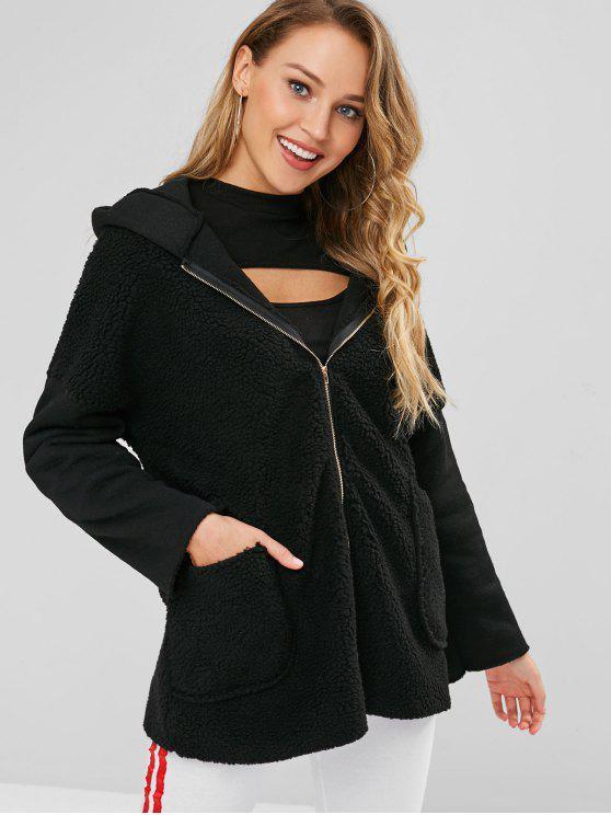 women Zip Front Faux Fur Hooded Coat - BLACK S