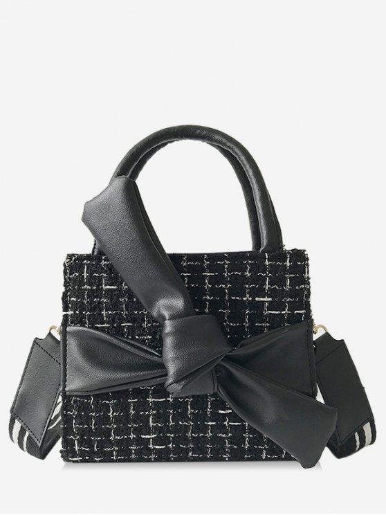 Bowknot Plaid Pattern Chic Sac à main - Noir