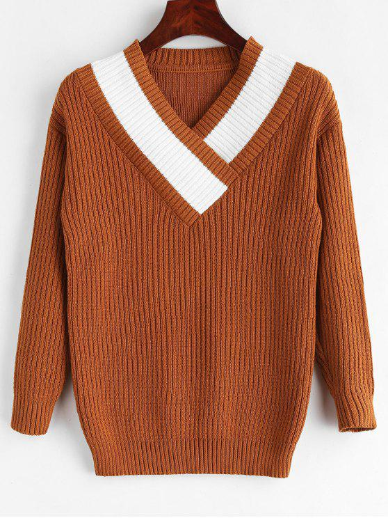 shop Contrast Surplice V Neck Sweater - BROWN ONE SIZE