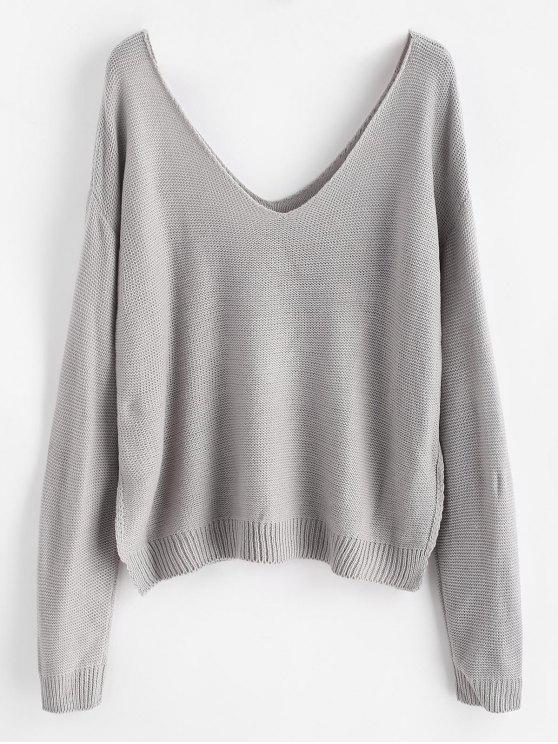 latest Side Slit Drop Shoulder Sweater - LIGHT GRAY ONE SIZE