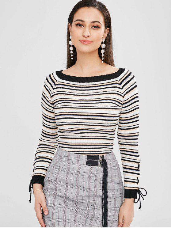 trendy Boat Neck Striped Ribbed Sweater - MULTI ONE SIZE