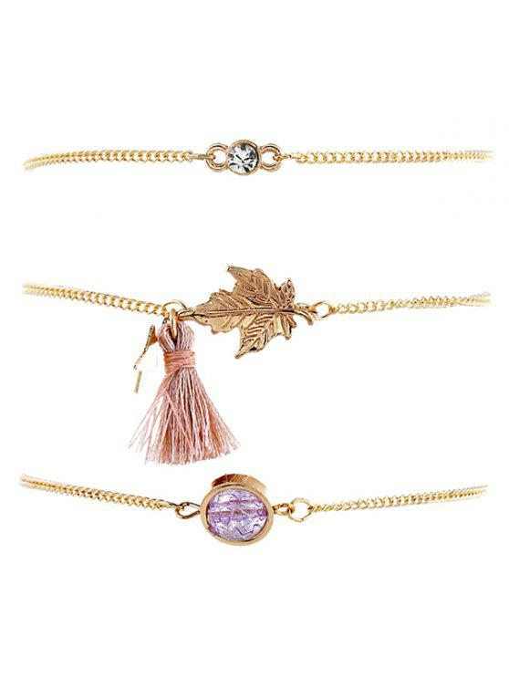Maple Leaf Design Tassel Chain Bracelets Set - Ouro