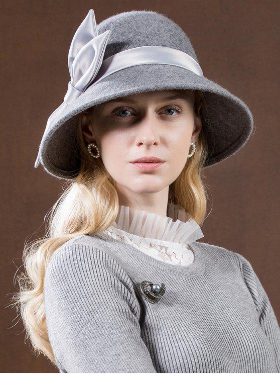 Chapéu elegante do tea party do bowknot da fita - Cinzento