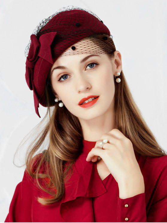 online Elegant Bowknot Mesh Tea Party Beret - RED WINE