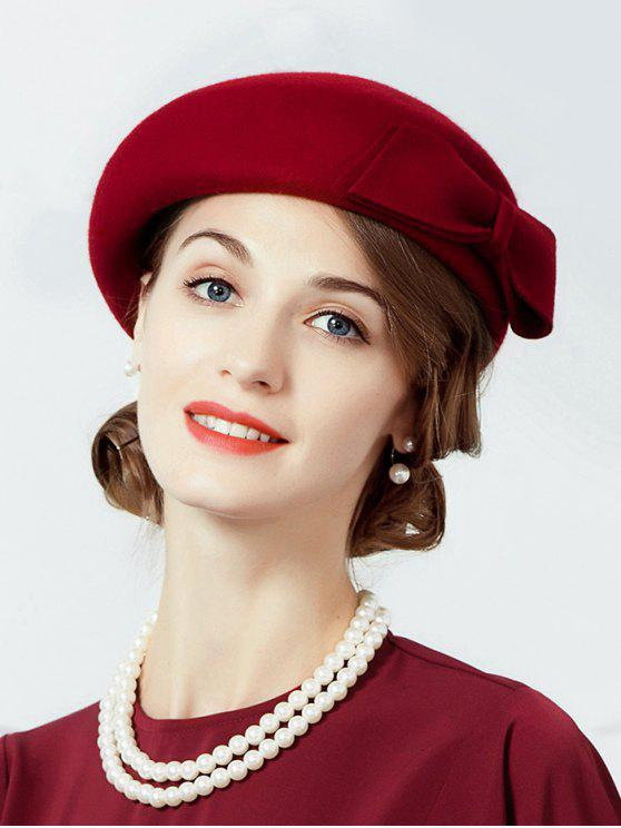 hot Bowknot Solid Color Elegant Beret - RED WINE
